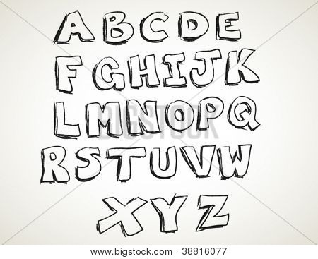 Hand drawn alphabet letters set, isolated. vector