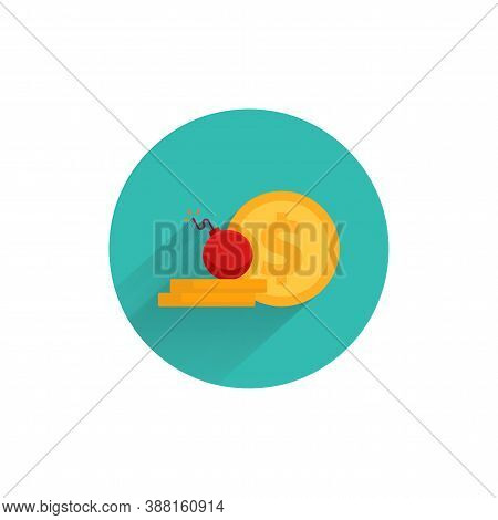 Risk Capital Flat Icon. Money Loss Colorful Flat Icon With Long Shadow. Risky Investment Flat Icon