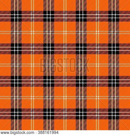 Halloween Tartan Plaid. Scottish Pattern In Black, Orange And White Cage. Scottish Cage. Traditional