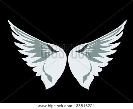 Vector illustration of white angel wings