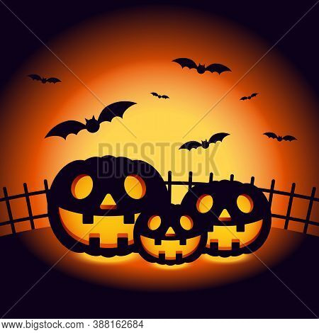Halloween Night Scenery Background Decorative With Pumpkin And Bats. Design Element For Halloween Pa