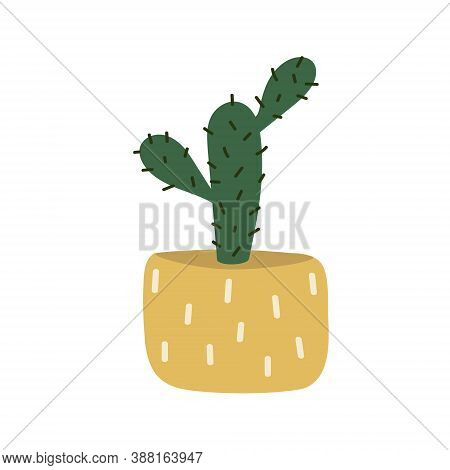 Cactus Grows In A Pot. Decorative Indoor Plant With Green Leaves In A Pot. Prickly Cartoon Cactus Is