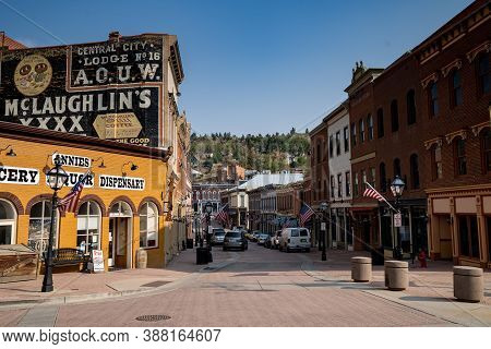 Central City, Colorado - September 18, 2020: Downtown Shops And Casinos With Cobblestone Streets Of