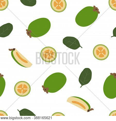 Feijoa. Fresh And Healthy Food. Seamless Vector Patterns