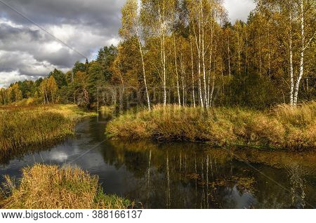 Autumn Landscape With Winding River And Trees