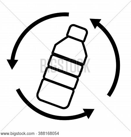 Plastic Bottle Waste Recycling On White Background. Recycling Plastic Logo. Flat Style.  Say No To P