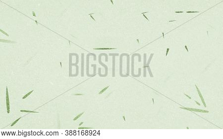 Green Mulberry Paper With Bamboo Leaf Texture Background, Handmade Paper Horizontal With Unique Desi