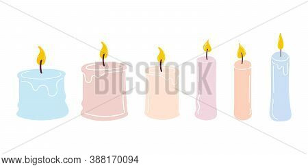 Set Of Burning Scented Candles. Hand - Drawn Flat Vector Illustration . Design For Christmas, New Ye