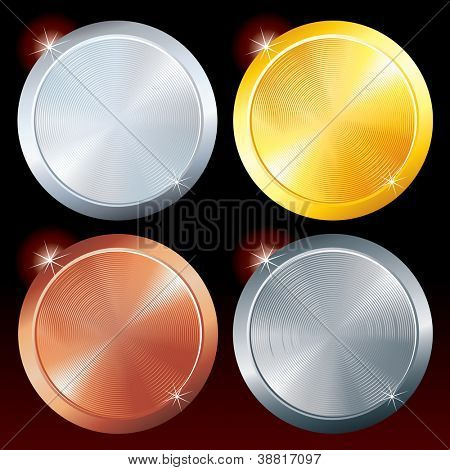 Round Metal Plates. Brushed Golden, Silver, Platinum and Copper Texture.