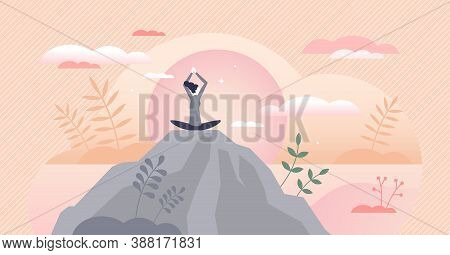 Wellness As Physical And Mental Health Harmony Balance Tiny Persons Concept. Mind Peace Control With