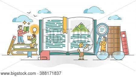 Reading Books As Personal Intelligence Growth With Literature Outline Concept. Learning And Study Fr
