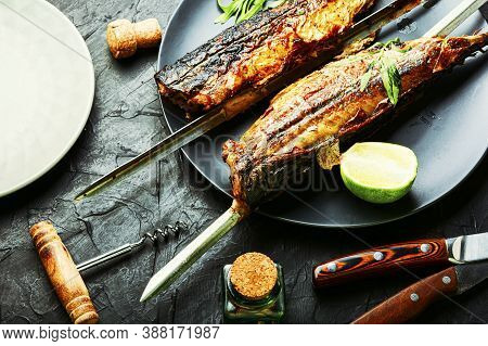 Whole Grilled Mackerel,skewered