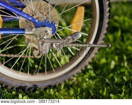 Bike Rear Wheel With Spokes And Hub, Closeup Outdoor Shot