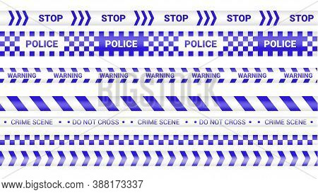 Police Tape, Crime Danger Line. Barricade Police Lines Isolated. Warning And Barricade Tapes. Set Of