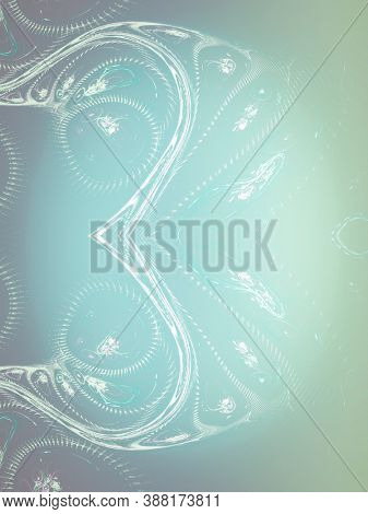 design display with fractals, creative background plant leaves, waves and sinuous shapes, decorative image for advertising or designs