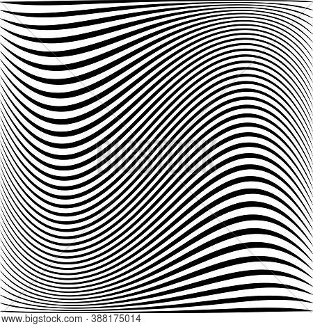 Abstract Wavy Lines Striped Texture And Background. Vector Art.