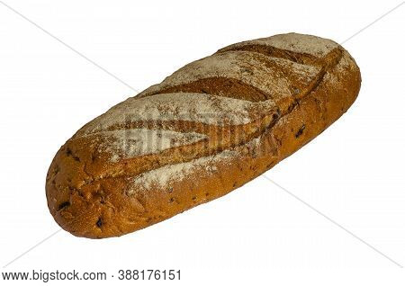 Loaf Of Whole Wheat And Rye Bread On A White Background. Crispy Homemade Bread. Bakery. Isolated.