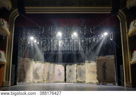 Batumi, Georgia, September, 6, 2020: Batumi Drama Theater, Illuminated Decorations Of A Performance