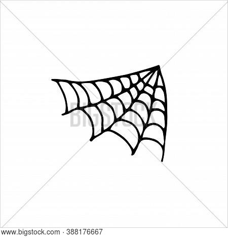 Doodle Spider Web Angle Element. Hand Drawn Black Cobweb Isolated On White Background. Scary Cute Si