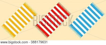 Beach Towel, Set Of Multi-colored Beach Towels. Vector, Cartoon Illustration.