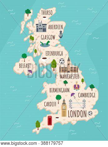 Cartoon Map Of United Kingdom. Travel Illustration With British Landmarks, Buildings, Food And Plant