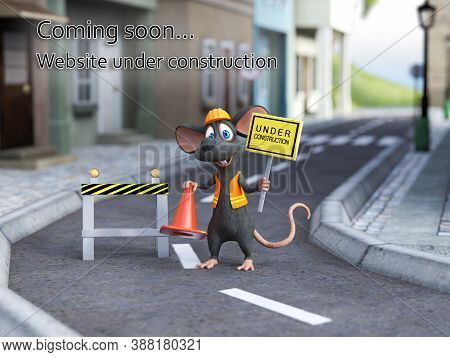 3d Rendering Of A Cute Cartoon Mouse Dressed As A Construction Woker, Holding A Traffic Cone And Und