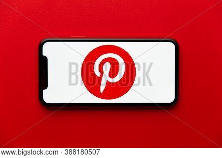 Tula, Russia - September 08, 2020: Pinterest Logo On Iphone Display