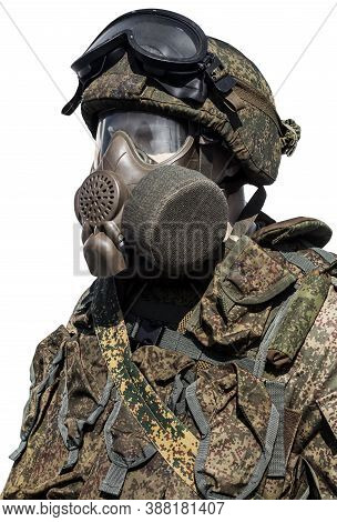Camouflage Uniform, Uniform And Gas Mask, Russian Army Isolated