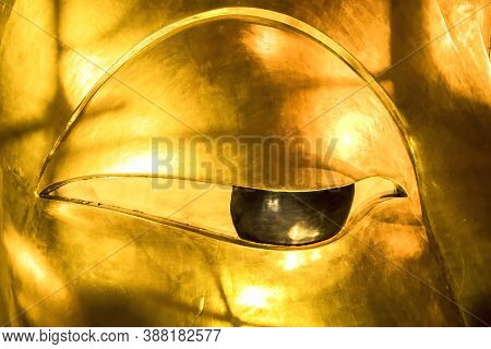 Wat Pho, The Eyes And The Part Of The Face Of The Reclining Buddha Statue, Its Official Name Is Wat