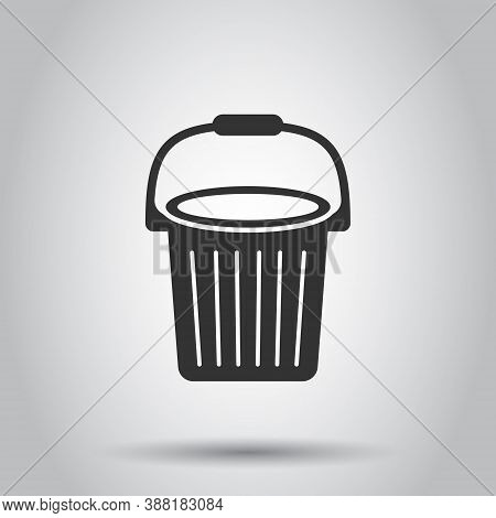 Bucket Icon In Flat Style. Garbage Pot Vector Illustration On White Isolated Background. Pail Busine