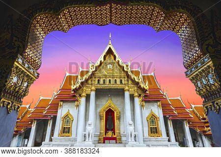 Marble Temple ( Wat Benchamabopit Dusitvanaram) In Bangkok, Thailand