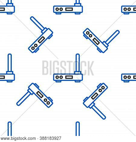 Line Router And Wi-fi Signal Symbol Icon Isolated Seamless Pattern On White Background. Wireless Eth