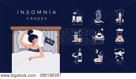 Insomnia Causes Vector Illustration Set. Sleepless Young Woman In Bed. Reasons Of Insomnia: Electron
