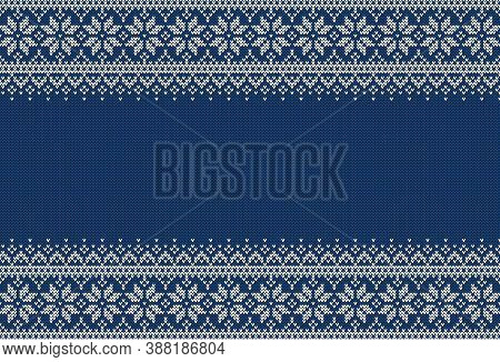 Knitted Sweater Background With Copyspace. Blue And White Horizontal Banner For Christmas Or Winter