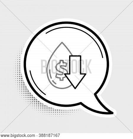 Line Drop In Crude Oil Price Icon Isolated On Grey Background. Oil Industry Crisis Concept. Colorful