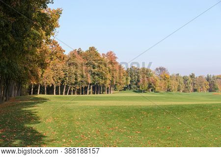 Large Hilly Lawn With A Mown Grass At The Edge Of The Autumn Forest Against The Clear Sky