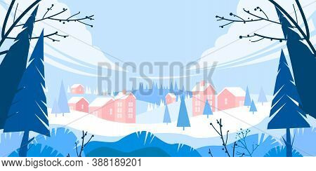 Winter Holiday Vector Landscape With Snow, Pine Trees Silhouette, Village In Drifts, Hills. Christma
