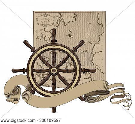 Classic marine round wood steering wheel with a Old geographic map and ribbon banner. Vintage color engraving stylized drawing