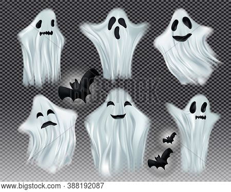 Set White Transparent Ghost Vector Illustration. Ghosts Isolated On Dark Background. The Concept Of