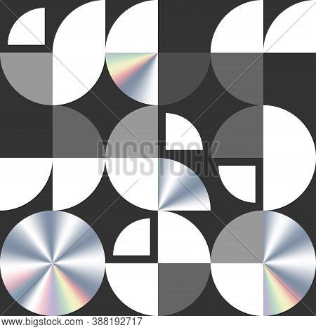Swiss Modernism Geometric Vector Seamless Pattern. Modern Texture With Circle And Quarters.