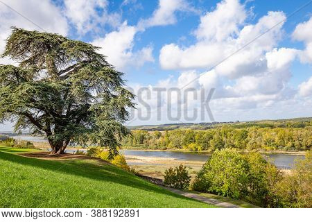 Chaumont-sur-loire, France: October 18, 2019: Scenic View Of The Loire Valley And River In Autumn Co
