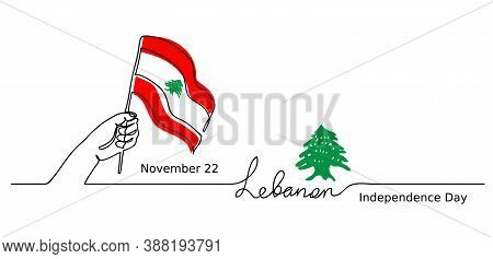 Lebanon, Lebanese Independence Day Vector Background. One Line Drawing Concept With Hand, Flag, Ceda