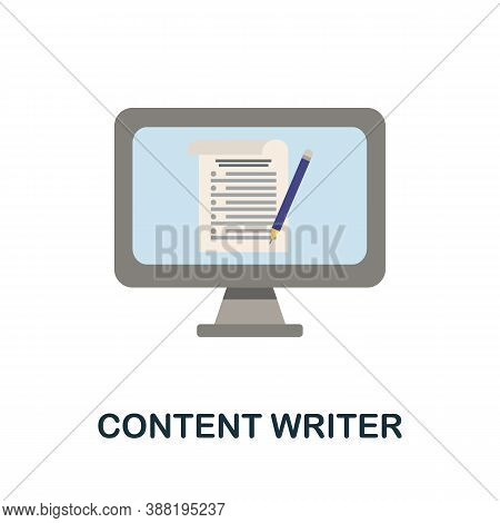 Content Writer Icon. Simple Element From Blogging Collection. Creative Content Writer Icon For Web D