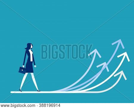 Businesswoman Walking With Arrows Direction. A Lot Of Business Opportunities