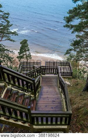 Old Mossy Wooden Stairs Leading From The Forest To Sandy Beach. Wet Weather. Green Evergreen Trees L