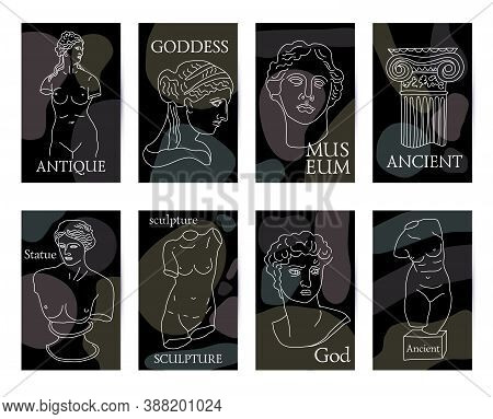 Ancient Greece And Rome Set Of 8 Black Cards Tradition And Culture Vector Seamless Pattern. The Line