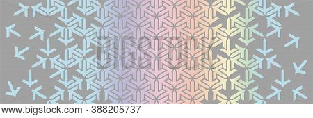 Geometric Holographic Border. Islamic Vector Pattern. Colorful Decor With Mosaic And Tile Disintegra