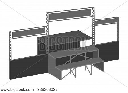 Vector Icon Of Metal Collapsible Portable Outdoor Stage. Isometric Clipart Of The Metal Structure Fo