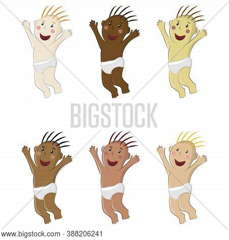 Vector Clipart Of A Happy Laughing Jumping Baby. Set Of Naked Toddler Boys In Diapers With Different