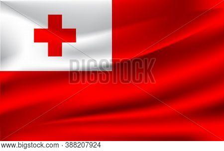 Realistic Waving Flag Of Tonga, The Waving Flag Of Tonga, High Resolution Fabric Textured Flowing Fl